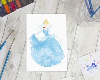 Disney Inspired Cinderella Watercolour A5 Print