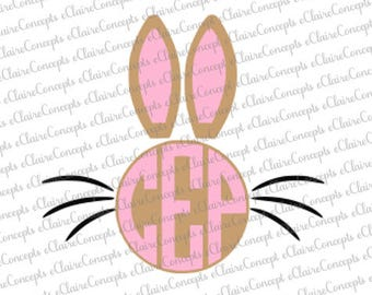 Easter Bunny Circle Monogram Digital Design SVG, Jpg, PNG, Pdf, Gif, Cricut, Silhouette Studio Cut File