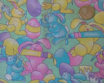 Easter Print Material, Bunnies Painting Easter Eggs, 2 yards