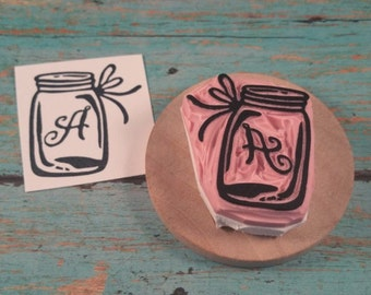 Custom Mason Jar Rubber Stamp, Initial Hand Carved Stamp, Ribbon, Country, Twine Personalized