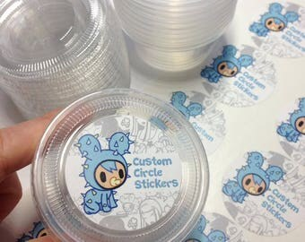 Custom Containers bundle set 24 cup of slime containers & lids(2oz) with 24 of Custom Shop Logo of stickers(small)
