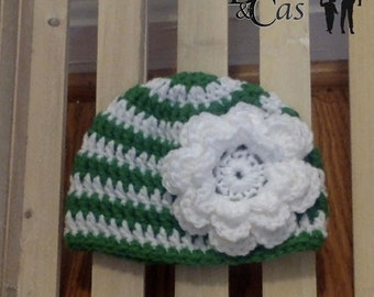 ANY COLORS Striped Handmade Crochet Beanie Hat with Rose Infant Toddler Child Teen Adult