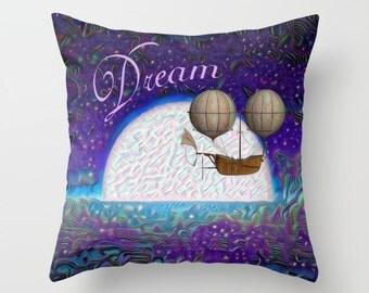Dream Pillow, Throw Pillow Cover, Night Pillow, Moon Pillow, Whimsical Pillow, Fantasy Pillow, Dreamland Pillow, Ocean Pillow, Toss Pillow