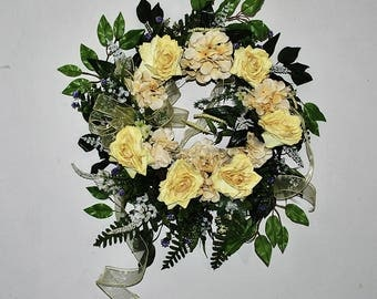 Yellow Rose And Cream Hydrangea Wreath, Summer Wreath For Front Door,  Yellow Rose Wall