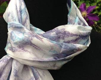 Purple and White Silk Scarf / Purple Pink Blue and White / Tie Dyed Scarf / Long Scarf / Women's Scarf / Gift for Her