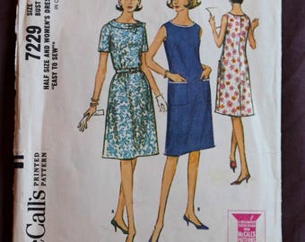 Misses'/Women's Chic Dress (Mad Men Style) Vintage 1960s Sewing Pattern McCall's 7229 Size 20.5 Bust 41 COMPLETE