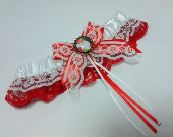 Art deco christmas festive lace wedding Garter