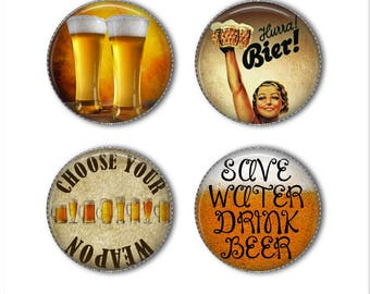 Beer magnets or Beer pins, alcohol magnets pins, refrigerator magnets, fridge magnets