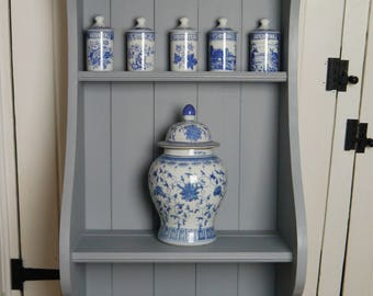 Vintage Wall Display/Storage Unit - Soft Grey - Painted and Waxed