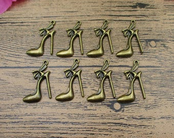 12 High-heeled Shoes Charms ,Antique Bronze Tone-RS192
