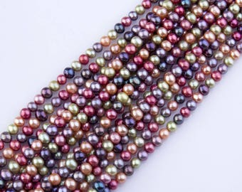 5mm-6mm Multicolor Freshwater Pearls, Loose Pearls, Semi-Precious Gemstones, Priced per Strand, Mixed Color, Natural Pearls, PRL052