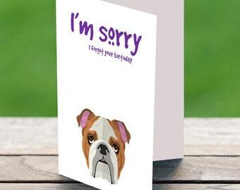 I'm Sorry English Bulldog Card, Sorry Card, Bulldog Card, Dog Card, Sorry Bulldog Card, I'm Bully Sorry Card, English Bulldog Card, Bulldog