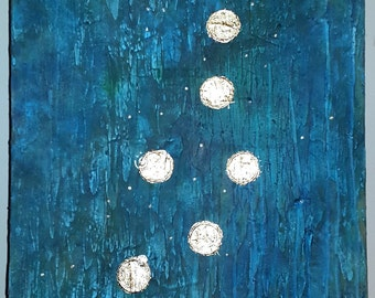Acrylic painting canvas 70 x 50 x 2 gold leaf turquoise blue green circles painting structures