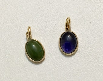 USA FREE SHIPPING-14K Gold Setting- Iolite and Nephrite Jade Cab Stones- Sold Separately  SandyNationJewelry