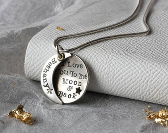 I Love You To The Moon And Back Personalised Necklace - I Love You To The Moon and Back - Personalized Moon Necklace - Gifts For Her