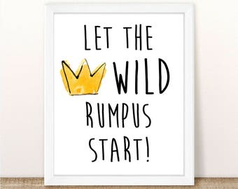 Where the Wild Things Are, Let The Wild Rumpus Start, INSTANT DOWNLOAD, Birthday Party, Baby Shower, Themed, Pdf, Jpg, 8.5x11.