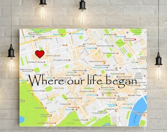 Where we met/ Where we began - Personalized Map with Custom Poem/Quote/Message - Great Wedding/ Anniversary Gift! Spring Launch Green