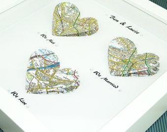 We met We married We Live. Heart Map Print. Wedding Gift. Anniversary Gift. Engagement gift. Paper Anniversary gift. Fathers Day Present
