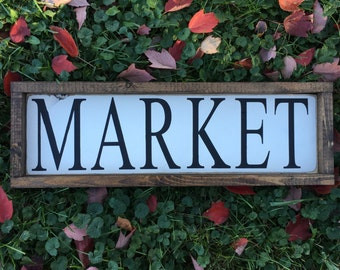 CLEARANCE, Ready to Ship, Market, Framed Sign, Rustic Wooden Sign, Black, White, Farmhouse Decor, 7x21