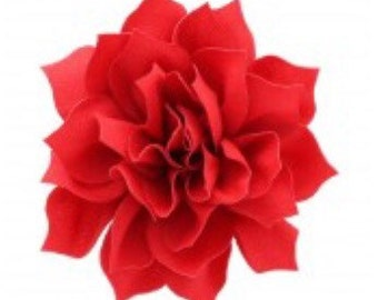 """3.5"""" Red Hair Flower Clip   Boutique Bow   Hair Bows   Headband   Girls   Baby"""