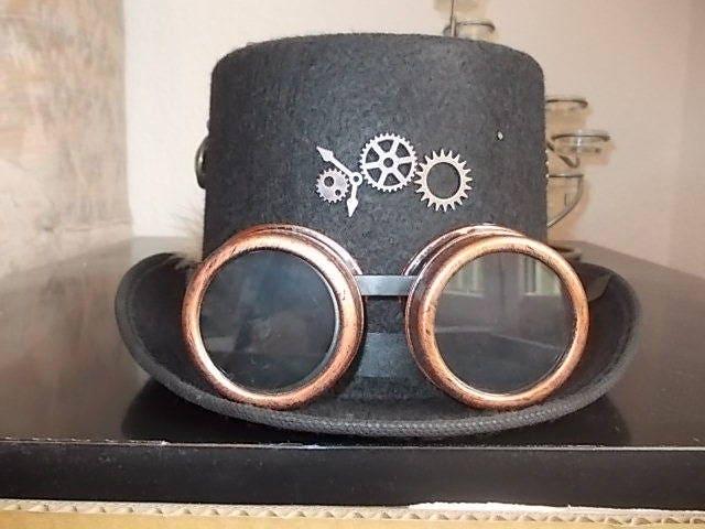 gothic steampunk hut hat steampunk goggles steampunk deko. Black Bedroom Furniture Sets. Home Design Ideas