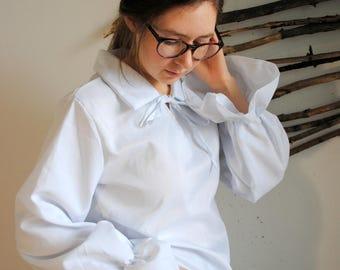 Vintage womens white blouse 1990s big sleeve shirt