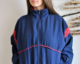 Vintage windbreaker 1990s 1980s womens casual sport jacket blue red