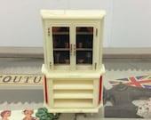 Vintage 1950s 1960s dolls house white plastic french dresser kitchen cupboard miniature dolls house furniture midcentury modern furniture