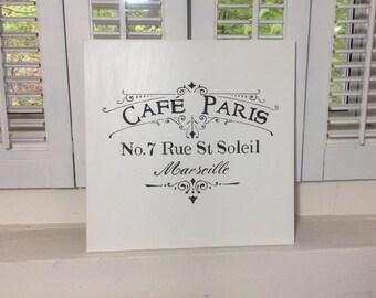 Cafe Paris wood sign, shabby chic decor, French decor, black and white decor, cottage decor,  kitchen decor, dining decor