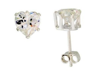 White Diamond CZ Heart Post Stud Earrings / Cubic Zirconia/ Sterling Silver Plated/ Heart Shape/ Wedding Valentines Mothers Day Jewelry Gift