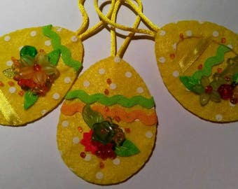 Easter felt ornaments, set of 3, READY TO SHIP.