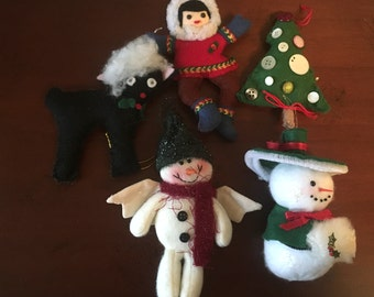 Adorable Lot of 5 Vintage Handmade Christmas Ornaments