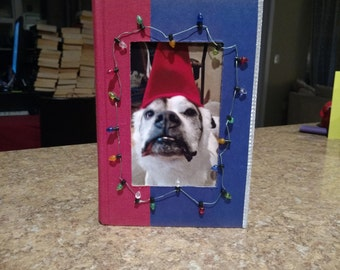4 X 6 Book Picture Frame With Christmas Lights Blue and Red