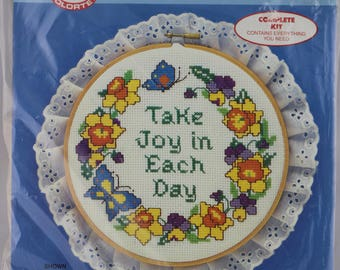 Vintage Counted Cross Stitch Kit, inspirational Wall Art, Inspirational Quote, Cross Stitch Pattern, Needlework Kits, Craft Kits for Adults