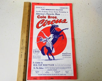 Vintage 1941 Press Release for the Cole Brothers CIRCUS Season Lobo Dorothy Herbert