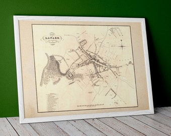 Old map of Lanark   Fine Art Print   vintage town survey in Lanarkshire, Scotland. Vintage Map Home Decor Scottish Town Map Poster from 1883