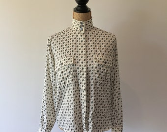 Vintage Paisley Cream and Green Satin Blouse