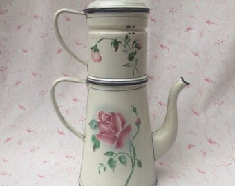 Rarest ever ! Old French ENAMELWARE JAPY COFFEEPOT Lge Rose Design/Cream Ground