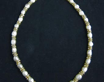 Freshwater pearl and crystal rondelle necklace