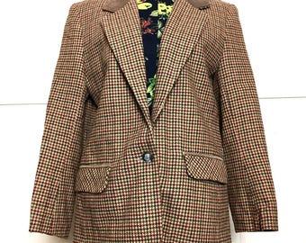 70s/80s Wool Coffee Plaid Menswear Blazer With Leather Collar