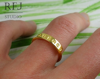 24K Gold Plated Silver Name Ring, Yellow Gold Plated Personalized Ring, Size US 1, 2, 3, 4, 5, 6, 7, 8, 9, 10 Ring, Custom Size Letter Ring
