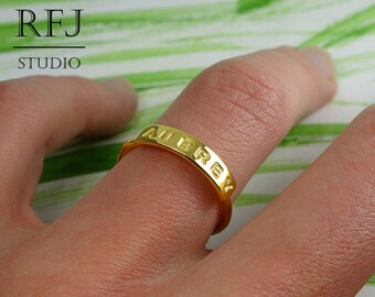 24K Gold Plated Silver Name Ring, Yellow Gold Filled Personalized Ring, Size US 1, 2, 3, 4, 5, 6, 7, 8, 9, 10 Ring, Custom Size Letter Ring