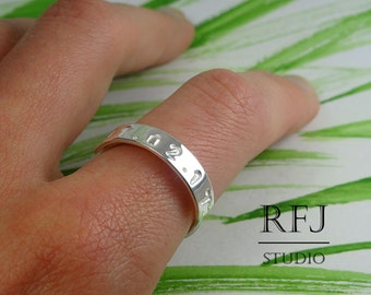 Custom Date Ring, Sterling Silver Medium Size Personalized Number Ring, Birthday Ring, Bible RIng, Numerology Ring, Code Ring, Digital Ring