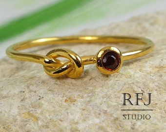 Natural Garnet Yellow Gold Plated Knot Ring, January Birthstone 24K Gold Plated Knotted Ring 2mm Round Cut Red Garnet Love Promise Gold Ring