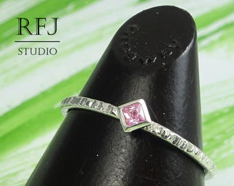 Kite Lab Pink Diamond Textured Silver Ring, Square Pink CZ Stack Ring Princess Cut 2x2 mm Pink Stone Dainty Rhombus Setting Engagement Ring