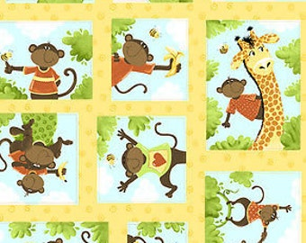 """Susybee Fabric, Monkey Fabric : Oolie Baby Collection by Susybee - Oolie, the Monkey patchwork 100% cotton fabric by the yard 36""""x43"""" (SB58)"""