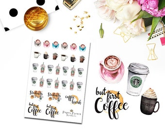 COFFEE Stickers/Planner Stickers for use with Erin Condren Life Planner/Happy Planner Stickers/Horizontal/Functional Icon Sticker Kit