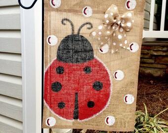 Lady Bug Burlap Garden Flag