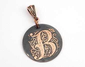 Letter B pendant, small round flat metal copper etched monogram initial, optional necklace, 25mm