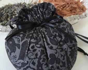 20% OFF Cedar and Lavender Sachet, Heart-like Shape, Gray/Black Paisley Print